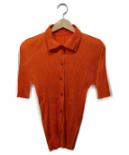 PLEATS PLEASE(プリーツ プリーズ)の古着「プリーツデザインシャツ」|オレンジ