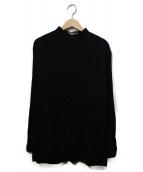 ISSEY MIYAKE MEN(イッセイ ミヤケ メン)の古着「プリーツバンドカラーシャツ」|ブラック