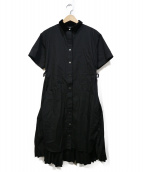 sacai(サカイ)の古着「切替デザインプリーツワンピース」|ブラック