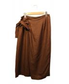 martinique(マルティニーク)の古着「リネンライクリボンドレープスカート」|ブラウン
