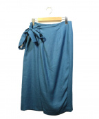 martinique()の古着「リネンライクリボンドレープスカート」|ネイビー