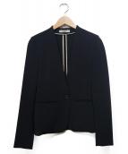 BEIGE(ベイジ)の古着「ノーカラージャケット」|ブラック
