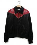 Saint Laurent Paris(サンローランパリ)の古着「ローズ刺繍ウエスタンジャケット」 ブラック×レッド