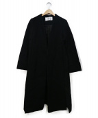 CITY(シティ)の古着「サイドスリットノーカラーコート」 ブラック