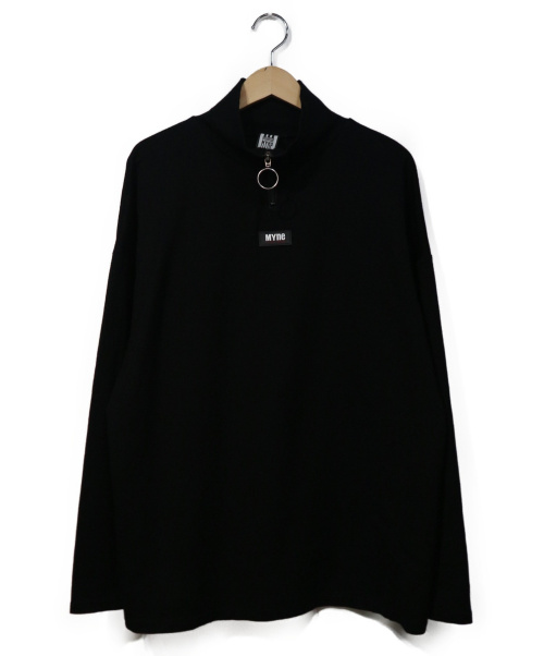 MYNE(マイン)MYNE (マイン) HALF ZIP PULLOVER ブラック×ホワイト サイズ:Mの古着・服飾アイテム
