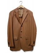 Paul Stuart(ポールスチュアート)の古着「ラムレザーパンチングテーラードジャケット」|ブラウン