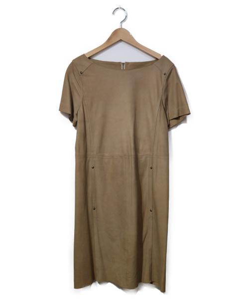 LAUTRE AMONT(ロートレアモン)LAUTRE AMONT (ロートレアモン) スエードワンピース ベージュ サイズ:40の古着・服飾アイテム