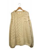 HARVESTY(ハーベスティ)の古着「パネル編みバルーンスリーブニットプルオーバー」|ホワイト