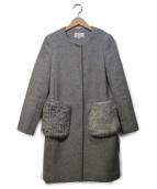 M-premier(エムプルミエ)の古着「ポケットファーノーカラーコート」|グレー