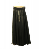 MM6(エムエムシックス)の古着「セミトランスペアレントシフォンスカート」|ブラック