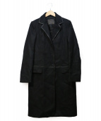 FENDI(フェンディ)の古着「レザートリムチェスターコート」|ブラック
