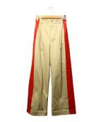 RUMBLE RED(ランブルレッド)の古着「ペイントデザインパンツ」 ベージュ