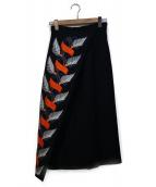 IRENE(アイレネ)の古着「リーフエンブロイダリースカート」|ネイビー