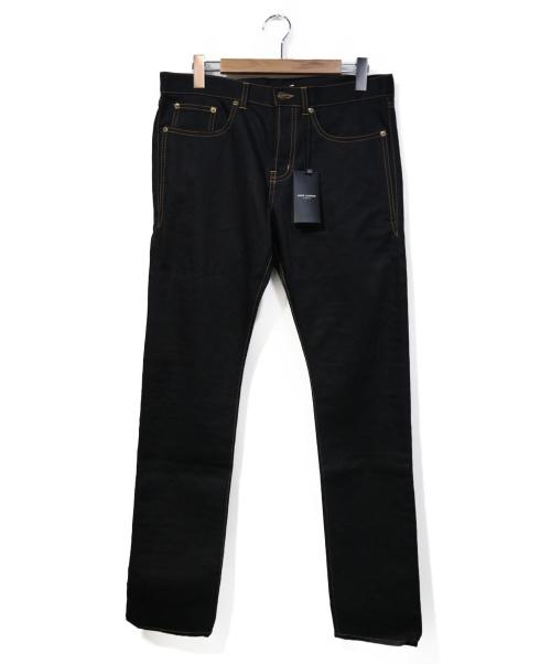 Saint Laurent Paris(サンローランパリ)Saint Laurent Paris (サンローランパリ) ブラックデニムパンツ ブラック サイズ:78.5cm (W31) ステッチデザインデニムパンツの古着・服飾アイテム