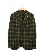 L.B.M.1911(エルビーエム1911)の古着「チェックテーラードジャケット」 オリーブ