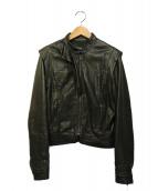 MAX&Co.(マックスアンドコ)の古着「フリルレザージャケット」|ブラック