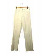 MACPHEE(マカフィ)の古着「コットンセミフレアホワイトデニムパンツ」|ホワイト