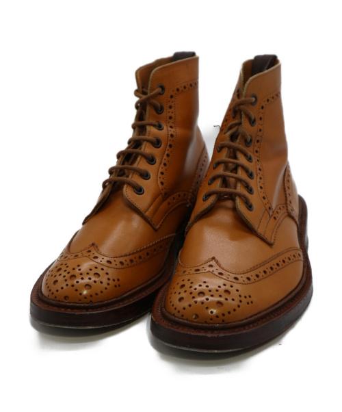 Trickers(トリッカーズ)Trickers (トリッカーズ) ウィングチップカンントリーブーツ キャメル サイズ:7の古着・服飾アイテム