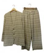 THE Sakaki(ザ サカキ)の古着「居間着 丙コットンボーダーセットアップ」|アイボリー