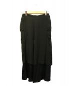 yohji yamamoto+Noir(ヨウジヤマモトプリュスノアール)の古着「シルクレイヤードスカート」|ブラック
