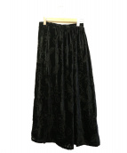 yohji yamamoto+Noir(ヨウジヤマモトプリュスノアール)の古着「フロッキープリントスカート」|ブラック