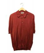 JOHN SMEDLEY(ジョンスメドレ)の古着「ニットポロシャツ」|エンジ