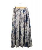 INED(イネド)の古着「大理石プリントスカート」 ブルー