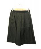 MARGARET HOWELL(マーガレットハウエル)の古着「コットンリネンタックスカート」|ブラック
