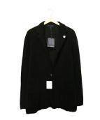 LARDINI(ラルディーニ)の古着「ウールミラノリブソリッド2Bニットジャケット」|ブラック