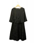 自由区(ジユウク)の古着「フラワーオパール異素材コンビワンピース」|ブラック