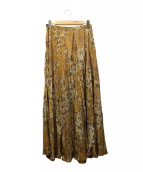 FRAMeWORK(フレームワーク)の古着「フラワープリントスカート」|イエロー