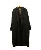 MUSE de Deuxieme Classe(ミューズ デ ドゥーズィエム クラス)の古着「ボタニーツイルオーバーコート」|ブラック