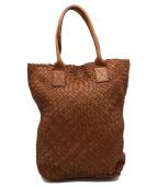FALORNI(ファロルニ)の古着「レザーメッシュトートバッグ」|ブラウン