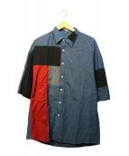 LAD MUSICIAN(ラッドミュージシャン)の古着「パッチワークシャツ」|ネイビー