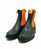 Tricker's(トリッカーズ)の古着「サイドゴアブーツ」|オレンジ×グリーン