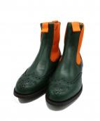 Tricker's(トリッカーズ)の古着「サイドゴアウィングチップブーツ」|オレンジ×グリーン