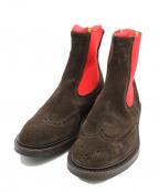 Tricker's(トリッカーズ)の古着「スエードサイドゴアブーツ」|レッド×ブラウン
