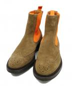 Tricker's(トリッカーズ)の古着「スエードサイドゴアブーツ」|オレンジ×ブラウン
