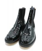 Trickers(トリッカーズ)の古着「ウィングチップサイドゴアパテントブーツ」|ブラック
