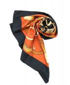 HERMES(エルメス)の古着「カレ90」 オレンジ×ブラック
