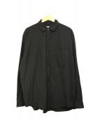 unfil(アンフィル)の古着「コットンギャバジン 丸襟シャツ」 ブラック