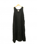 Honnete(オネット)の古着「リネンロングワンピース」|ブラック