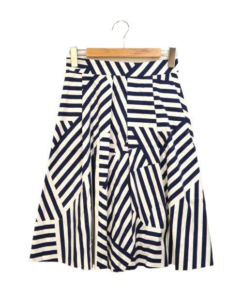 MAX&Co.(マックスアンドコー)MAX&Co. (マックスアンドコー) ランダムボーダースカート ホワイト サイズ:40の古着・服飾アイテム