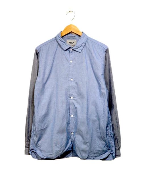 YAECA(ヤエカ)YAECA (ヤエカ) 切替スリーブコットンシャツ スカイブルー サイズ:XLの古着・服飾アイテム