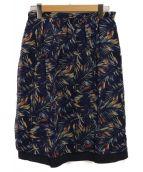 Paul Stuart(ポールスチュアート)の古着「パームプリントギャザースカート」 ネイビー