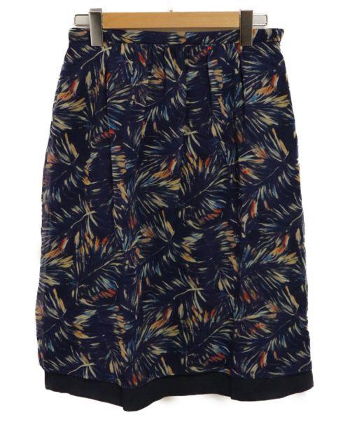 Paul Stuart(ポールスチュアート)Paul Stuart (ポールスチュアート) パームプリントギャザースカート ネイビー サイズ:8の古着・服飾アイテム