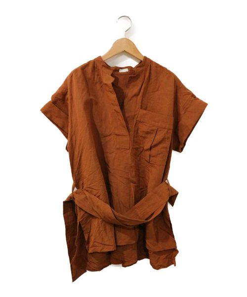 RITO(リト)RITO (リト) OFFICER COLLAR BLOUSE WITH BEL ブラウン サイズ:36の古着・服飾アイテム