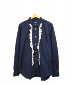 BLACK COMME des GARCONS(ブラックコムデギャルソン)の古着「フリルシャツ」 ネイビー