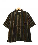 ROTOL(ロトル)の古着「ストライプシャツ」 ブラック×ブラウン