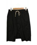 RICK OWENS(リックオウエンス)の古着「ローストリングサルエルハーフパンツ」|ブラック
